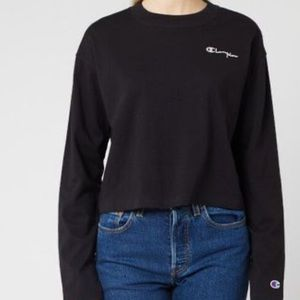 Champion Long Sleeve Crop Crewneck Top Black L